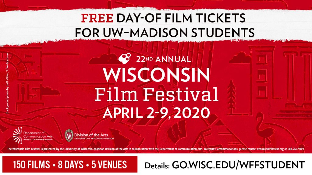 Free Day-Of Film Tickets for UW–Madison Students flyer