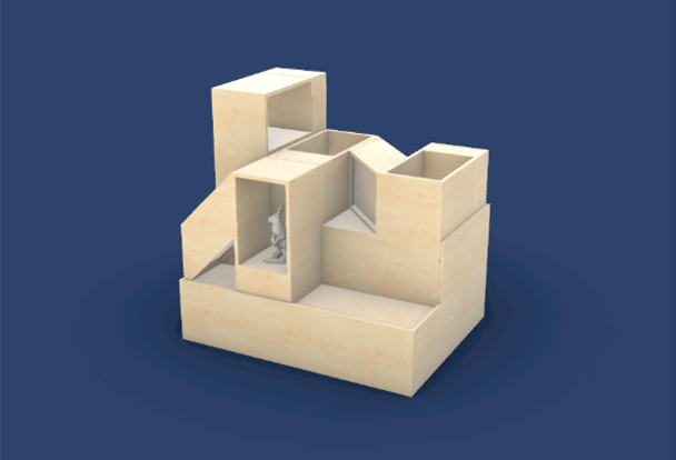 Three-dimensional rendering of a shelving concept against a navy blue background