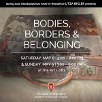 Bodies, Borders & Belonging overlays image of vintage suitcase with archival photographs collaged on top.