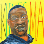 """Mural featuring George Floyd portrait over he words """"Black Lives Matter"""" on a bright yellow background"""
